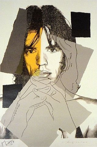 Andy Warhol: Mick Jagger. Idea for the kids to do create a portrait but break into sections and do a different medium in each section, it all creates one beautiful picture.