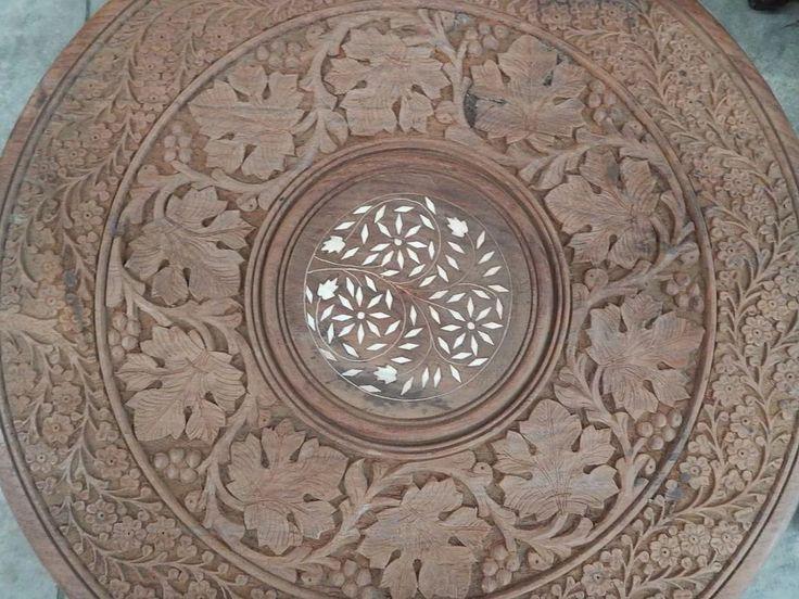 mesa tallada a mano hindú tipo árabe plegable #20114