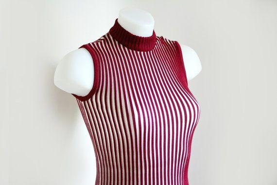 Dolcevita a righe anni 70 rosso bianco smanicato Small Bertrand Turenne Idea regalo donna Articolo nuovo con etichetta Fondo di magazzino