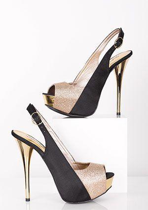 High Heels :     Picture    Description  gold and black heels    - #Heels https://glamfashion.net/fashion/shoes/heels/high-heels-gold-and-black-heels/