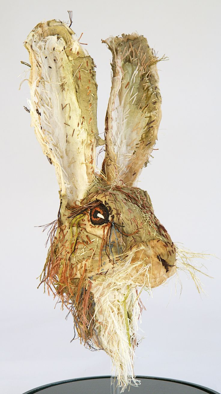 'Summer Hare' textile portrait head of a Hare made from tea stained muslin and embroidery threads. Mounted in a 52cm high glass dome.
