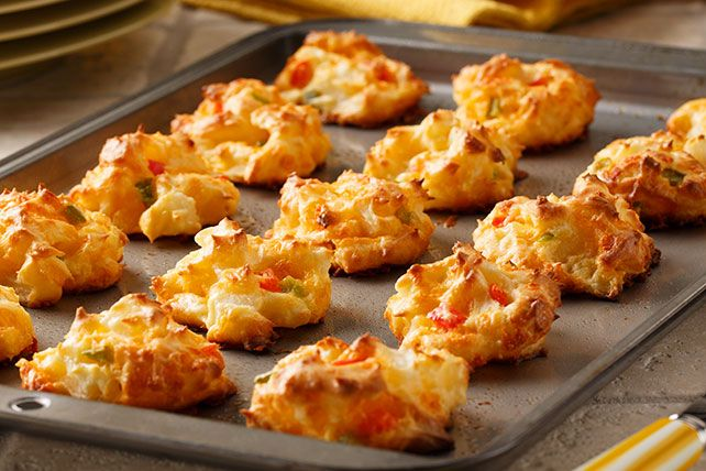 Our Cheesy Potato Puffs are like savory cheddar cookies. Only they're puffier, and they make better pre-dinner appetizers than cookies.