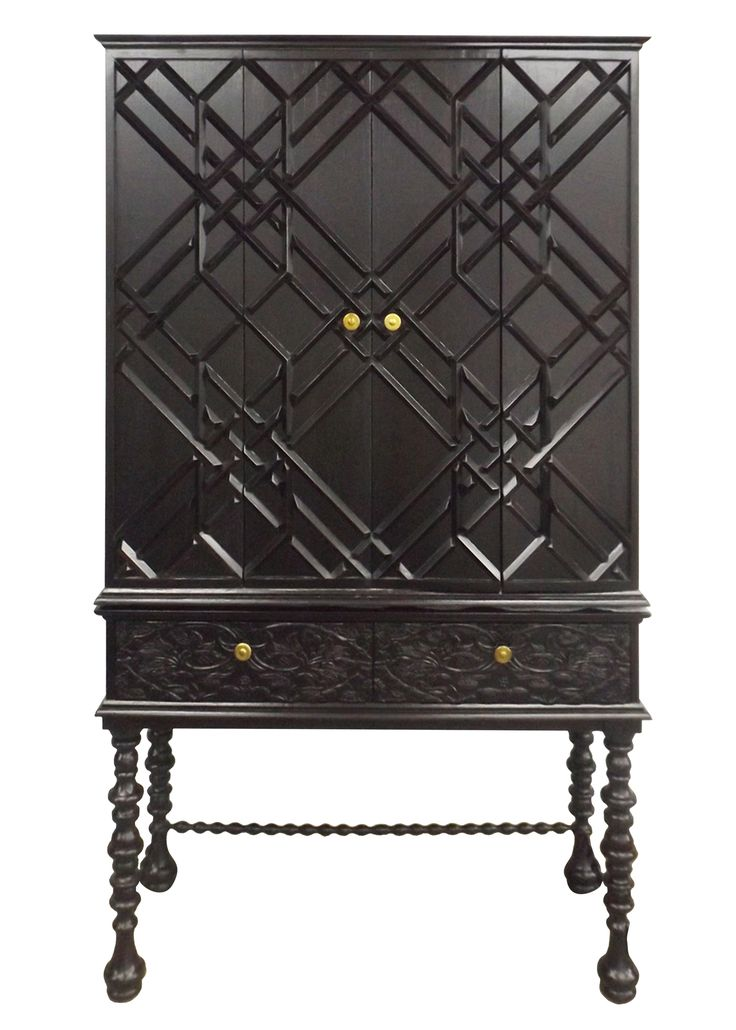 """Taking a cue from British Ceylon, this stunning piece features Florence s """"Pomegranates"""" design hand carved onto the drawer fronts, spindled legs and the """"Pagoda Lattice"""" mitered design on the doors."""