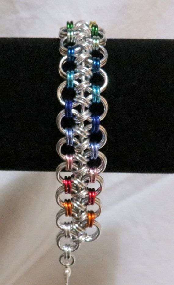 Rainbow Chainmaille Bracelet/Gay Pride/LGBTQ/Japanese 8 in 2
