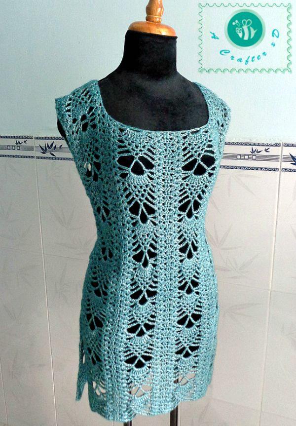 """Maz Kwok: Crochet Pineapple Tunic - free crochet pattern for size L (36-38""""). Small fee for pattern in sizes XXS-XXL with chart."""