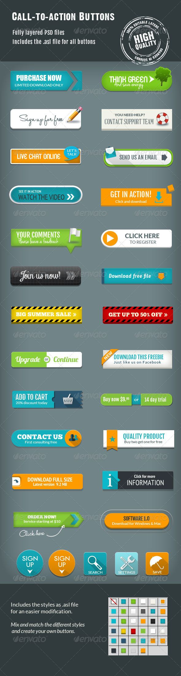 Call-To-Action Buttons Vol.III (Photoshop PSD, JPG Image, CS3, button, buttons, call to action, download button, shop button, vector, vector shape, web 2.0)