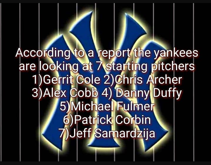 Which one do you want to see in pinstripes this season and what would you give up in trades  #yankees #offseason #resigntodd #mlbonthemove #cole #corbin #samardzija #cobb #archer #fulmer #duffy #judge #stanton