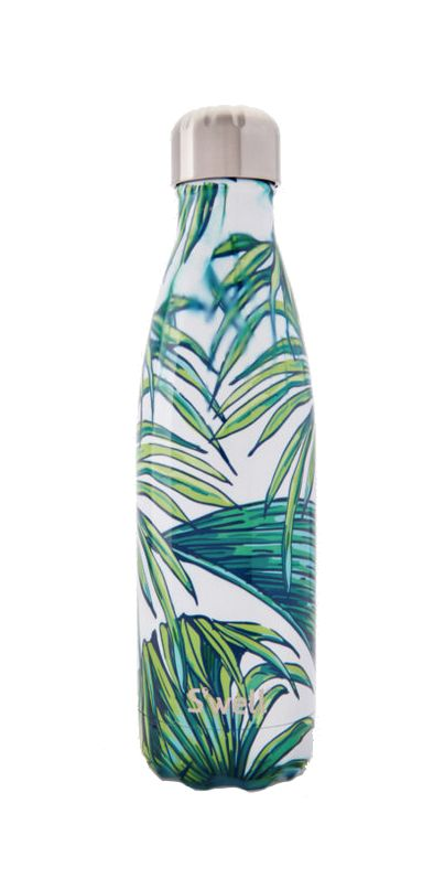 Escape to a tropical hideaway with the S'well Resort Collection Stainless Steel Water Bottle, featur