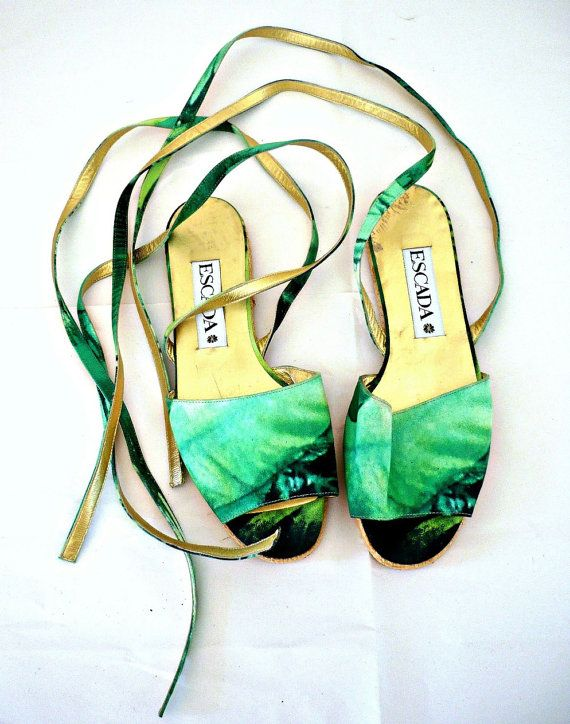 ESCADA Vintage Silk Strappy Sandals on Etsy, $97.00 AUD