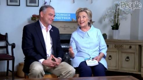 """People magazine's interview with Hillary Clinton and Tim Kaine in the October 3 issue carried the usual hard-hitting questions from Sandra Sobieraj Westfall: """"Here's one you probably won't get in the debates: What emoji best describes you?"""" Clinton replied """"All the happy emojis, the heart eyes, the hug ones. I use them with family."""" Back in April, People asked Trump about comparisons to Hitler, and found an expert to suggest Trump could end America."""