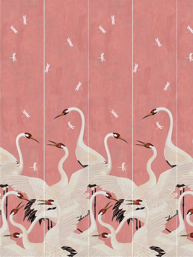 Gucci Heron Print Wallpaper Panels Pink Multi Print