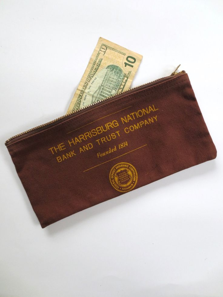 50s Harrisburg National Bank deposit bag, cloth bank bag, zippered canvas clutch, Harrisburg Pennsylvania, money bag, Jackpot Jen vintage by JackpotJen on Etsy