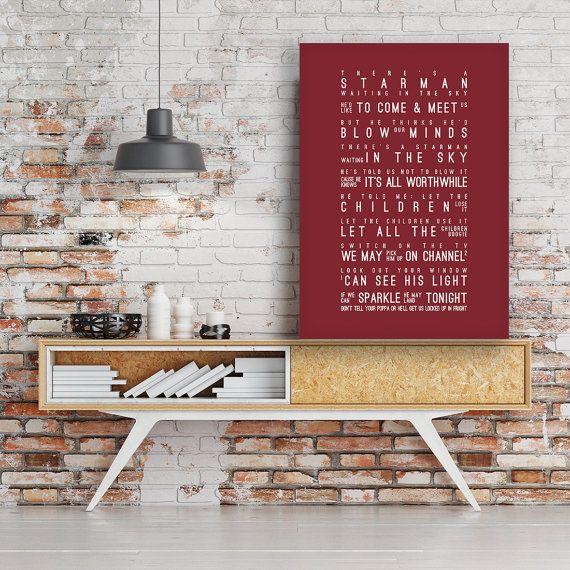 David Bowie Starman Lyrics Song Wall Art Song by VelvetPrint