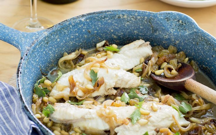 """Venetian-style fish with onions & pine nuts recipe - By New Zealand Woman's Weekly, I very clearly remember the little restaurant in Venice where I first ate """"pesce in saor"""" or marinated fish. I immediately fell in love with the sweet and sour combination of this dish. Served at room temperature, the fish, often sardines, are first pan-fried, then bathed in olive oil with sweet, cooked onions, raisins and pine nuts along with the vinegar which adds a note of sharpness."""