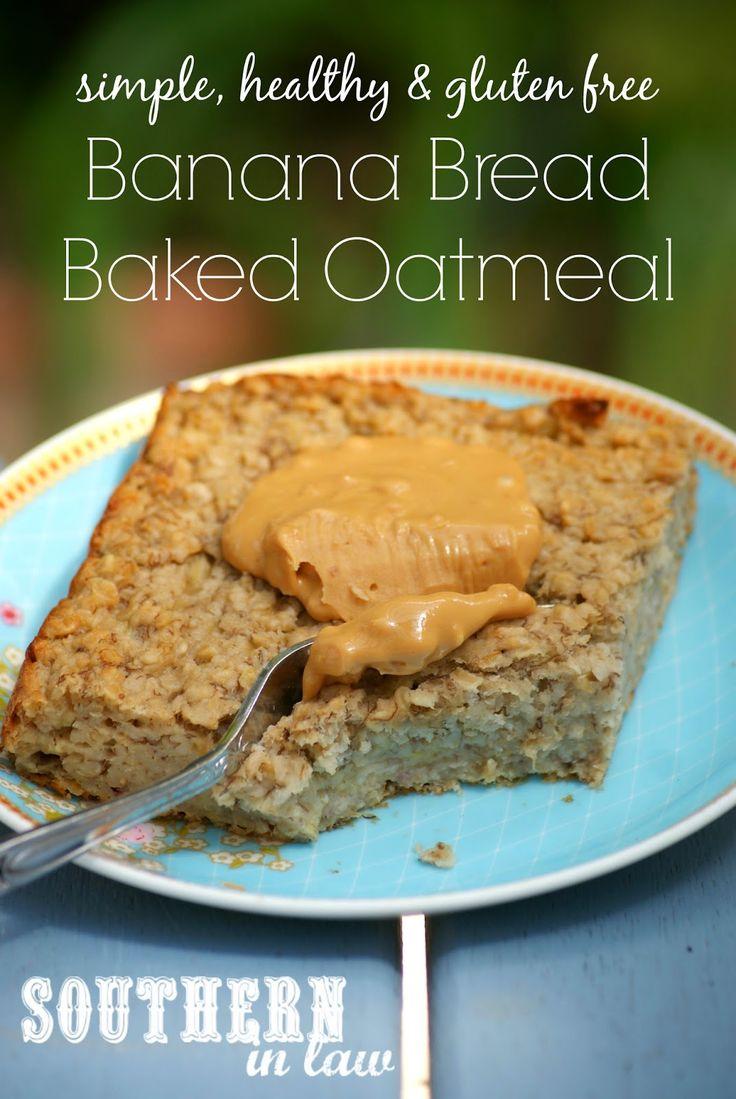 Low Fat Banana Bread Baked Oatmeal Recipe - gluten free, sugar free, healthy, clean eating