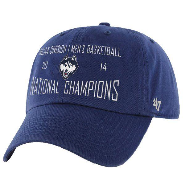 '47 Brand UConn Huskies 2014 NCAA Men's Basketball National Champions Clean Up Adjustable Hat - Navy Blue