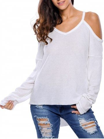 74f962662c9 V Neck Cold Shoulder Asymmetric Pullover Sweater | Casual Style ...