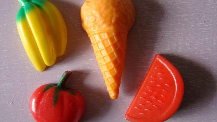 Vintage Magnets. Fruit and Icecream.  #vintagemagnets #fruitmagnets #ilovethe80s #vintagefinds https://www.etsy.com/ca/listing/223157533/vintage-fruit-fridge-magnets-1970s-1980s?ref=shop_home_active_21