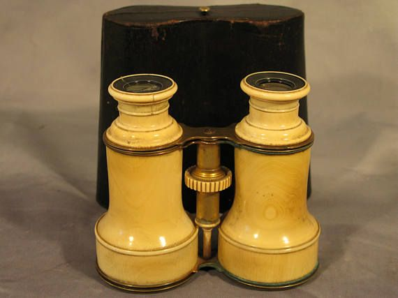 Antique Victorian Period Original Leather Cased Galileo Opera Glasses Circa 1840  A lovely and extremely rare pair of Morocco leather cased Galileo design Opera or Theatre Glasses. They are in good antique condition with minor wear and cracks, Optics are slightly damaged however can