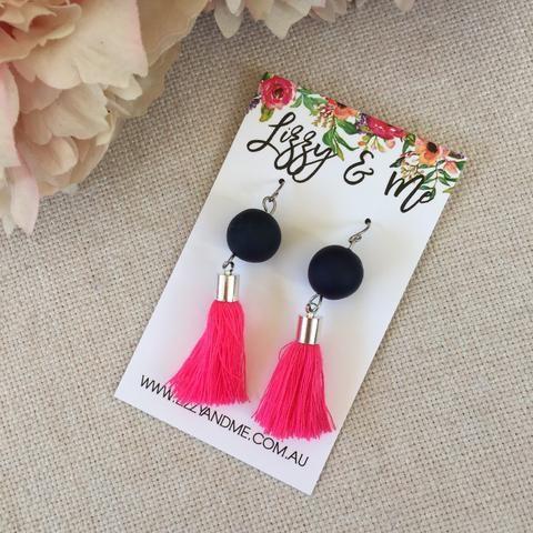 """Tullulah"" - Tassel Earrings - Navy with Pink Tassels"