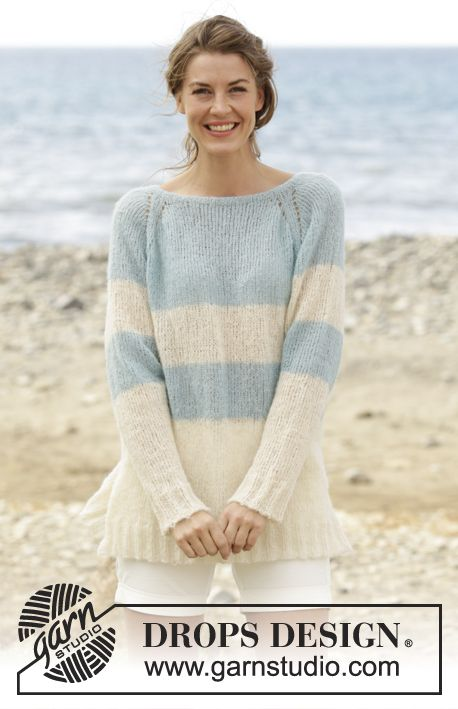 "Jumper with raglan, vent in the sides and stripes, worked top down in ""Brushed Alpaca Silk"". Free knitting pattern"