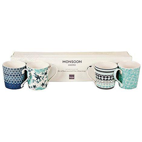 Denby Monsoon Set of four 'Anyalya' mugs- | Debenhams