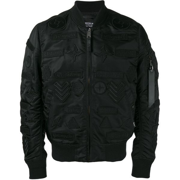 Marcelo Burlon County Of Milan embroidered bomber jacket ($998) via Polyvore featuring men's fashion, men's clothing, men's outerwear, men's jackets, black, men's embroidered bomber jacket, mens nylon bomber jacket and mens nylon jacket