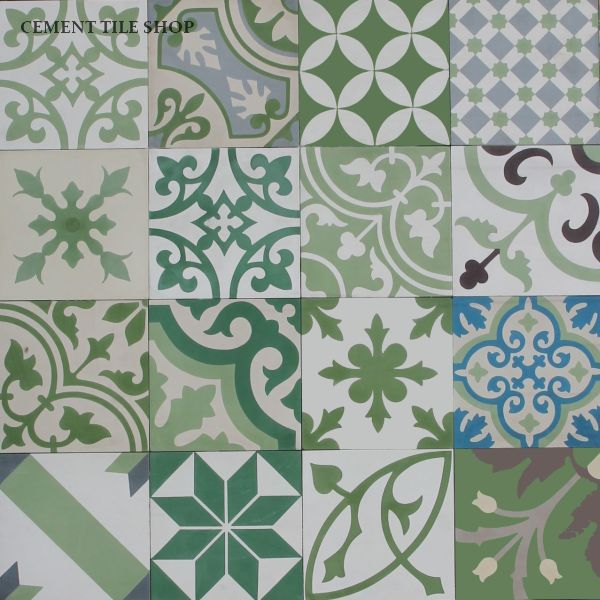 Cement Tile Shop - Encaustic Cement Tile Patchwork Green baldosas hidraulicas http://www.cementtileshop.com/pacific-collection-cement-tile/PatchworkPW-G.html                                                                                                                                                      Más