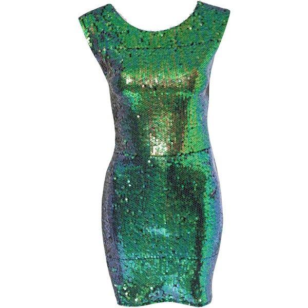 John Zack Green Sequin Dress ($57) ❤ liked on Polyvore