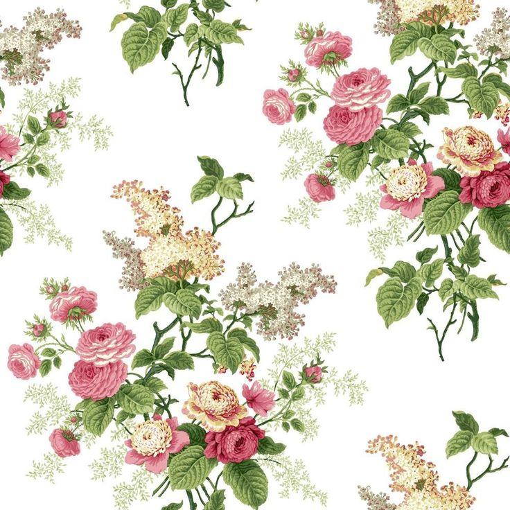 York Wallcoverings ER8180 Waverly Cottage Emma's Garden Wallpaper, White/Pink/Green/Butterscotch/Grey - - Amazon.com