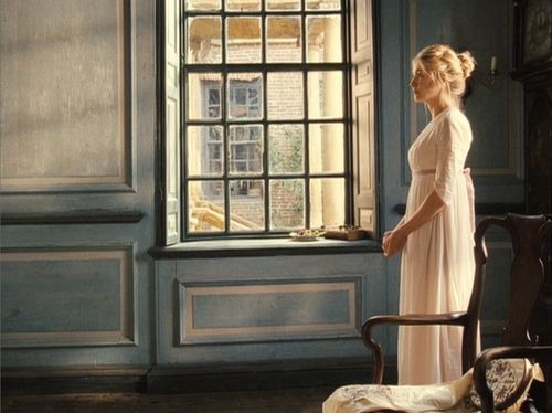 Jane Austen's Pride & Prejudice (2005) movie's gorgeous cinematography and home decor! Love the distressed wood paneling and the soft color pallet with the oiled-aged woods! AH!