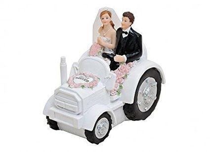 Coppia di sposi-Trattore-Coppia di sposi per torta nuziale-Statuetta-decorazione da tavolo per il matrimonio