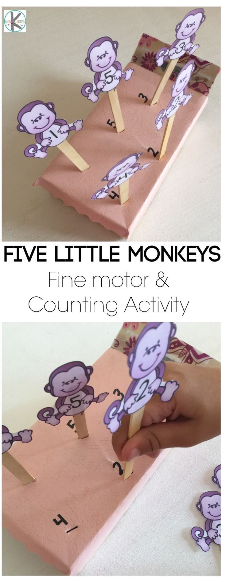 5 little monkeys nursery rhyme activity for kindergarten