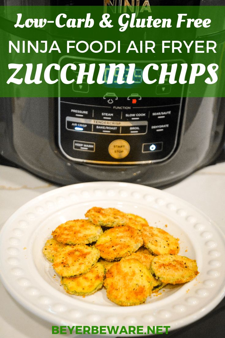 LowCarb Air Fryer Zucchini Chips are made with sliced