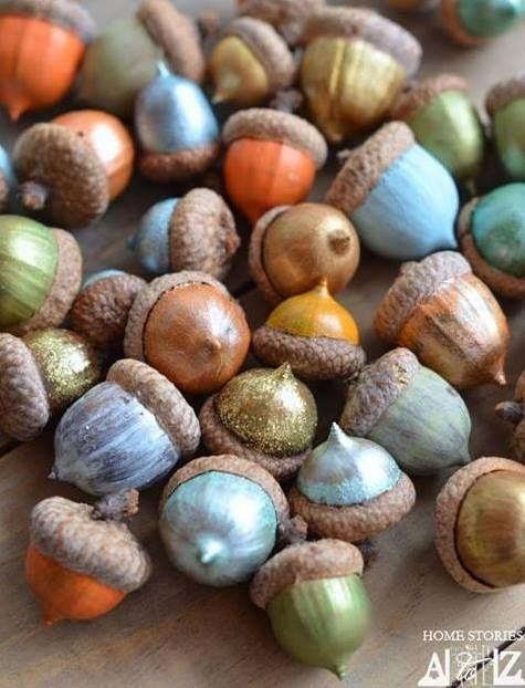 Painted autumn acorns