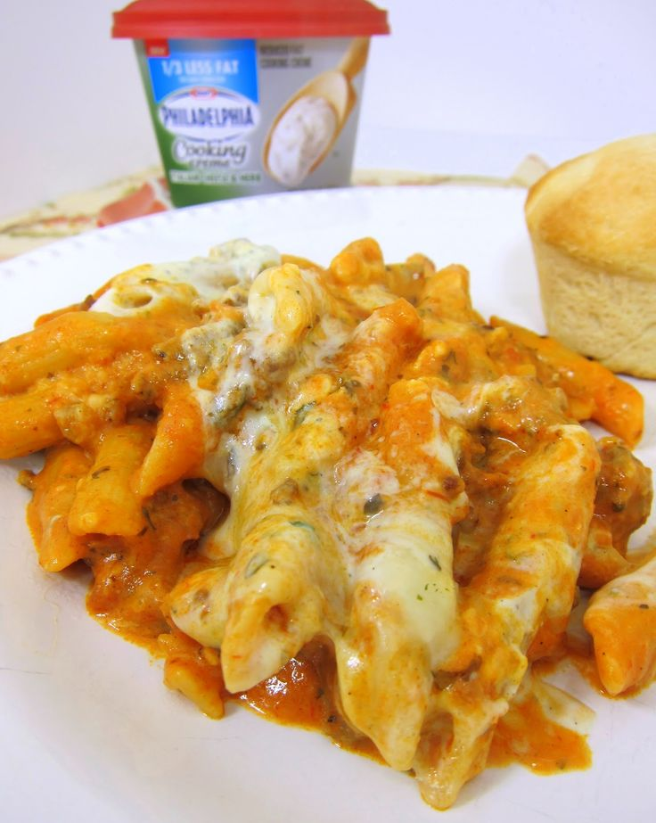 Baked Penne and cream cheese: Pasta Baking, Ground Beef, Penn Pasta, Cream Cheese, Families Dinners Recipes, Cooking Creme, Green Peppers, Baked Penne, Baking Penn