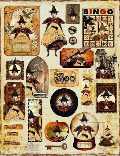 Altered Art Fairy Witch ATC Collage Sheet Three - Digital