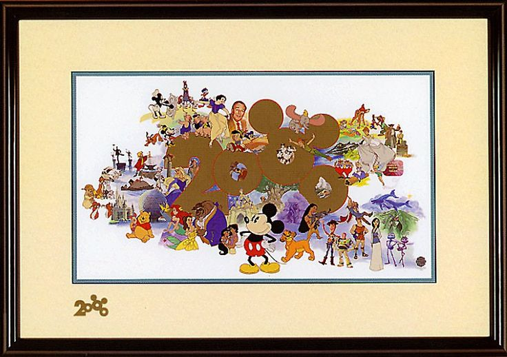 Welcoming A New Millennium - Sericel - World-Wide-Art.com - #disney #mickeymouse #donald