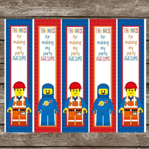on sale instant download lego movie thank you bookmarks