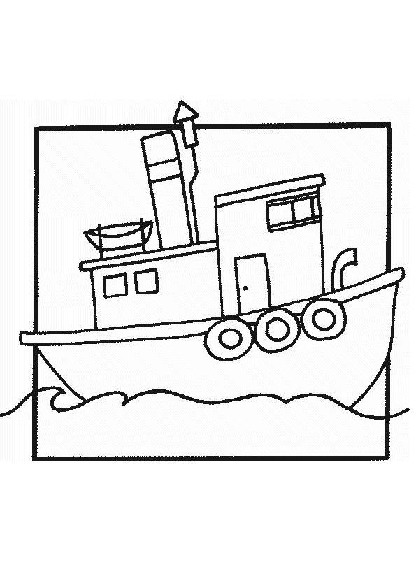 Joli dessin de petit bateau à colorier.