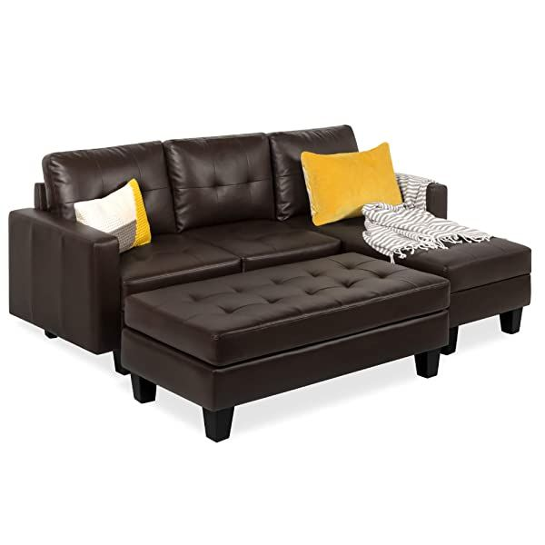 Best Choice Products 3 Seat L Shape Tufted Faux Leather Sectional Sofa Couch Set W Chaise Lounge Ottoman Bench Brown In 2020 Faux Leather Sofa Leather Sofa Set Sectional Sofa Couch