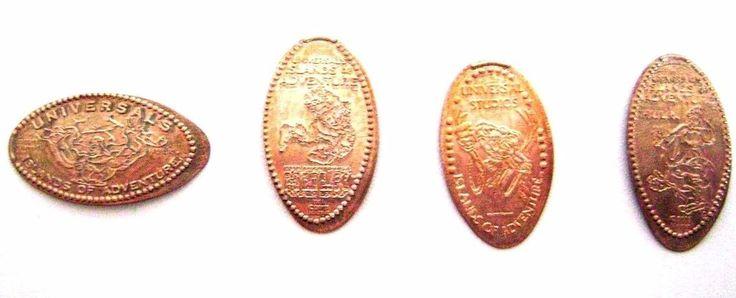 LOT of 4 Elongated Pressed Pennies Coins -- HULK -- UNIVERSAL STUDIOS - FLORIDA