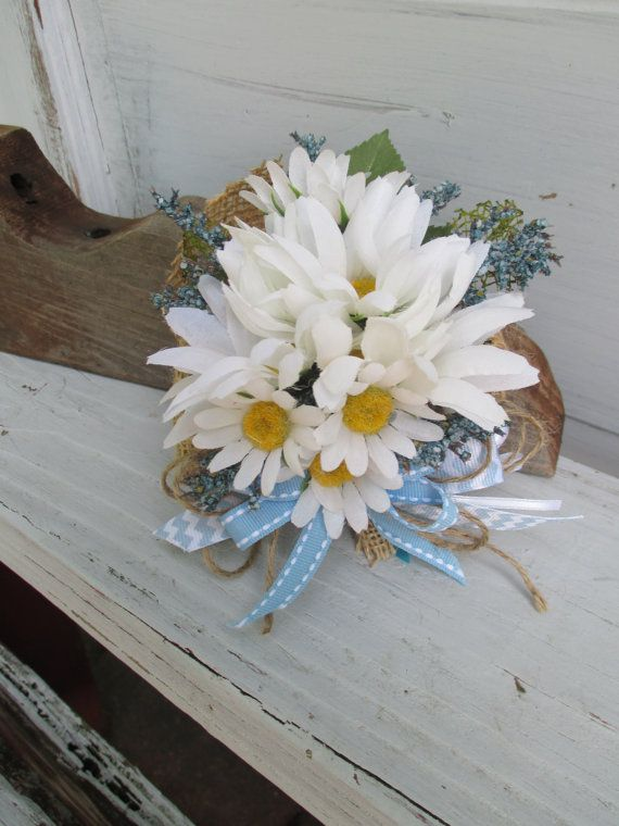 Chevron and White Daisy with Burlap for Baby or Wedding Shower