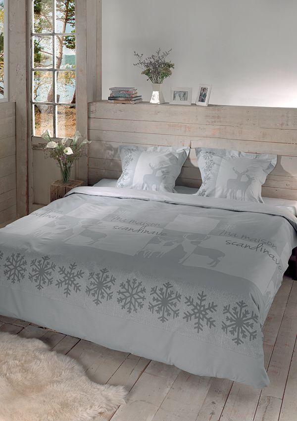 Housse de couette LAPONIE  Parure de lit : housse de couette Housse finition bouteille avec 2 taies d'oreiller 63 x 63 cm 100% coton – 57 fils