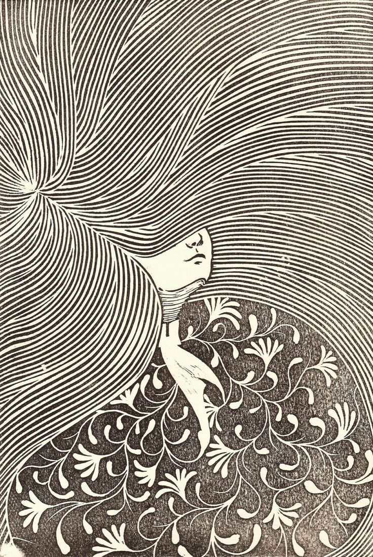 """Weeping Willow"" Linoleum engraving by Alejandro Armenta"