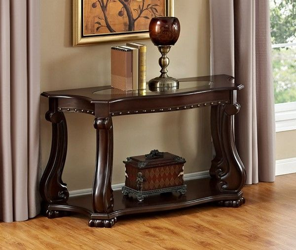 Crown Mark Madison Cherry Wood Sofa Table Wood Sofa Table Wood