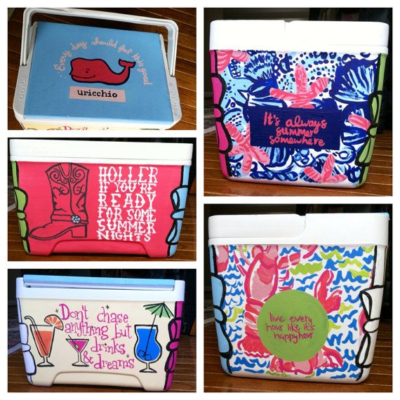 Personalized HandPainted Cooler for Katie by CoolersNStuff on Etsy, $75.00
