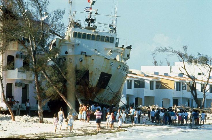 1988 - Hurricane Gilbert Dates active: September 8 - 19 Peak classification: Category 5 Sustained wind speed: 185 mph (295 km/h) Areas affected: Jamaica, Venezuela, Central America, Hispaniola, Mexico Deaths: 318 Damage: $5 billion (Pictured) Beached ship after Hurricane Gilbert in Yucatán Peninsula, Mexico.