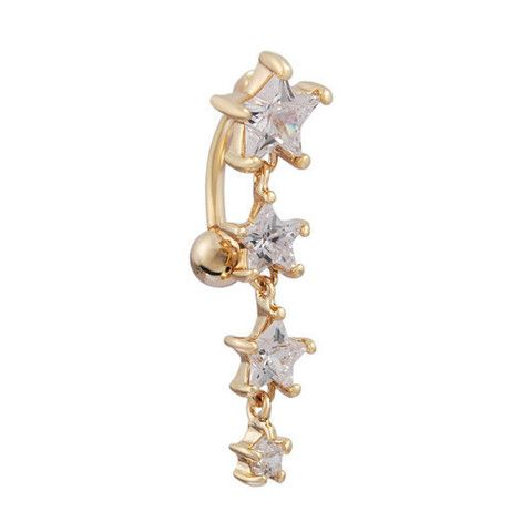 Gold Star Dangle Gem Top Down Belly Ring