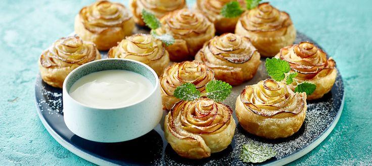Æbletærte med ingefærsukker og vaniljesauce